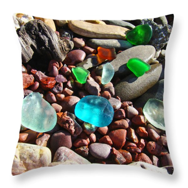 Sea Glass Art Prints Beach Seaglass Throw Pillow by Baslee Troutman