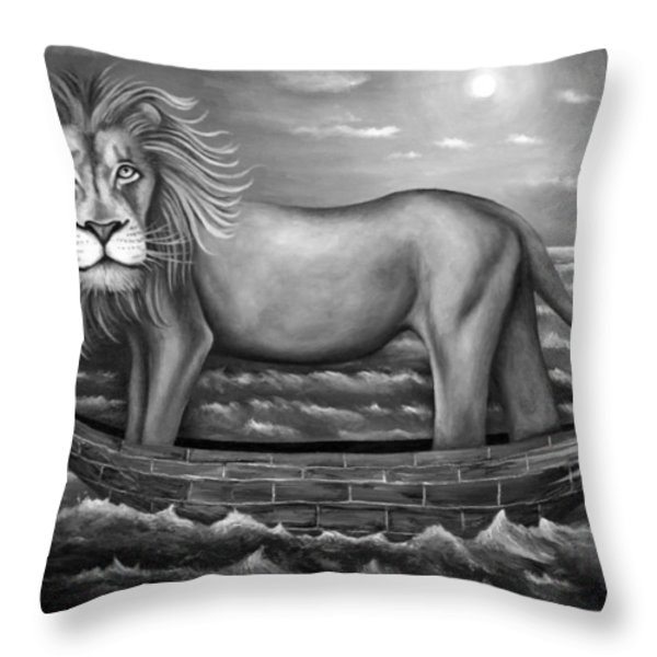 Sea Lion in bw Throw Pillow by Leah Saulnier The Painting Maniac