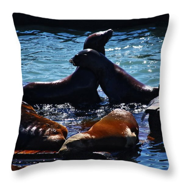Sea Lions In San Francisco Bay Throw Pillow by Aidan Moran