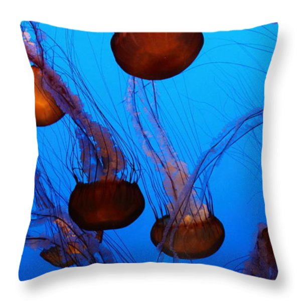 Sea Nettle Jelly Fish 5D25075 Throw Pillow by Wingsdomain Art and Photography