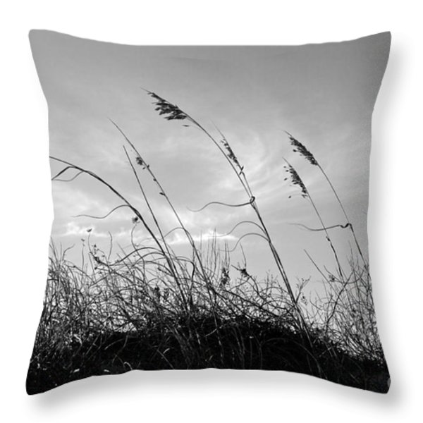 Sea Oats Silhouette Throw Pillow by Michelle Wiarda