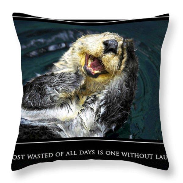 Sea Otter Motivational  Throw Pillow by Fabrizio Troiani