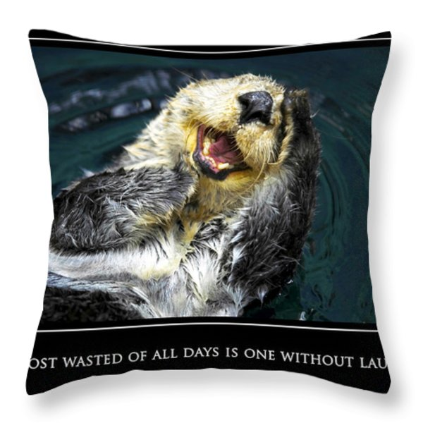Sea otter motivational  Throw Pillow by Fabrizio Troiani