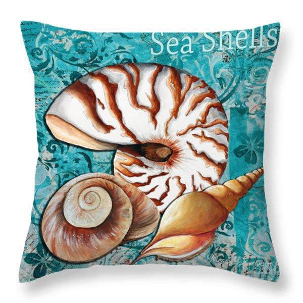 Sea Shells Original Coastal Painting Colorful Nautilus Art by Megan Duncanson Throw Pillow by Megan Duncanson