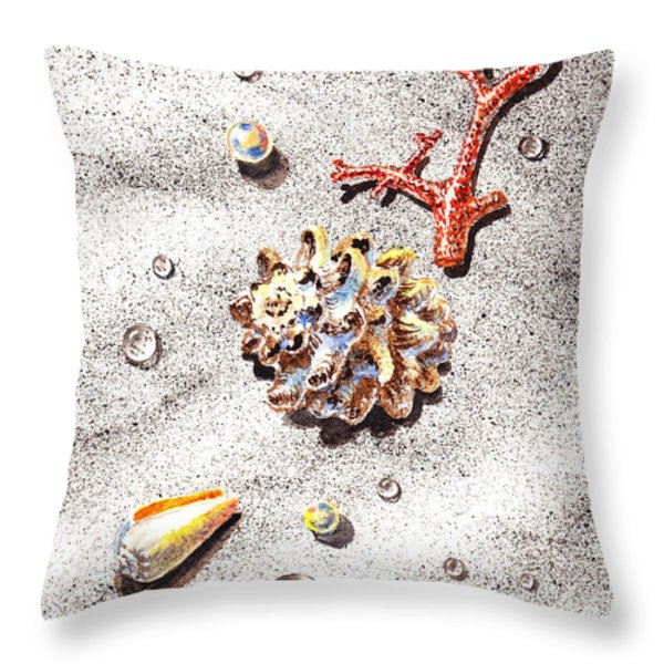Sea Shells Pearls Water Drops And Coral Throw Pillow by Irina Sztukowski