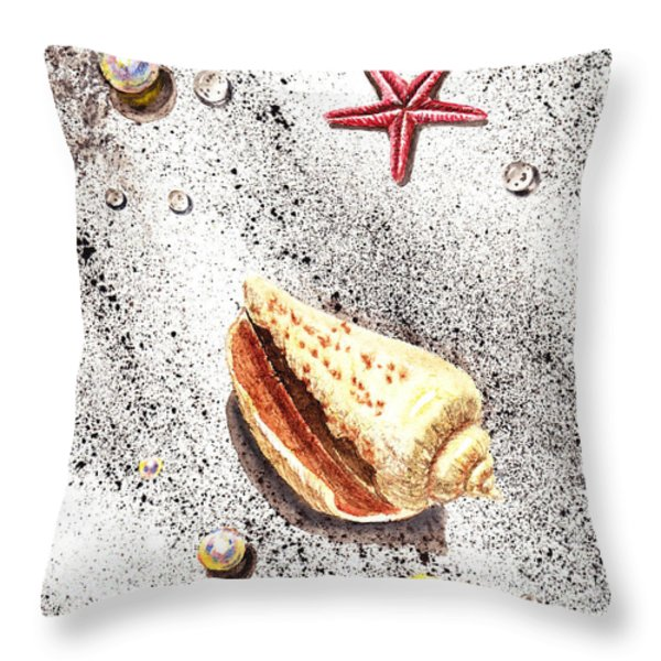 Sea Shells Pearls Water Drops And Seastar Throw Pillow by Irina Sztukowski