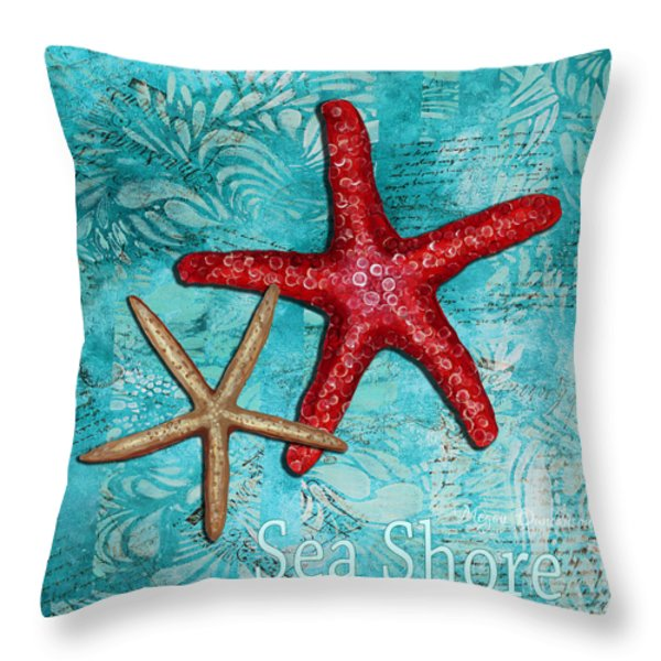 Sea Shore Original Coastal Painting Colorful Starfish Art by Megan Duncanson Throw Pillow by Megan Duncanson