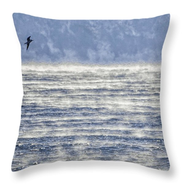 Sea Smoke And Gull Blues Throw Pillow by Marty Saccone