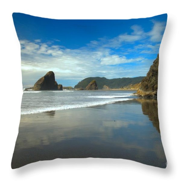 Sea Stacks In Blue Throw Pillow by Adam Jewell