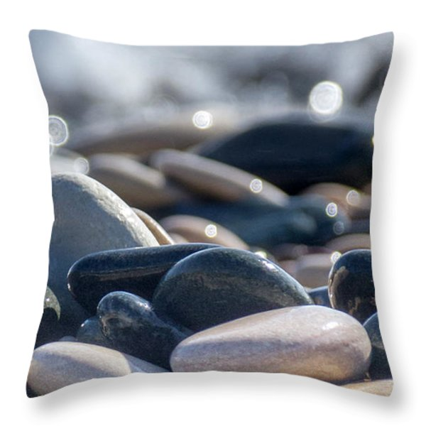 Sea Stones  Throw Pillow by Stylianos Kleanthous
