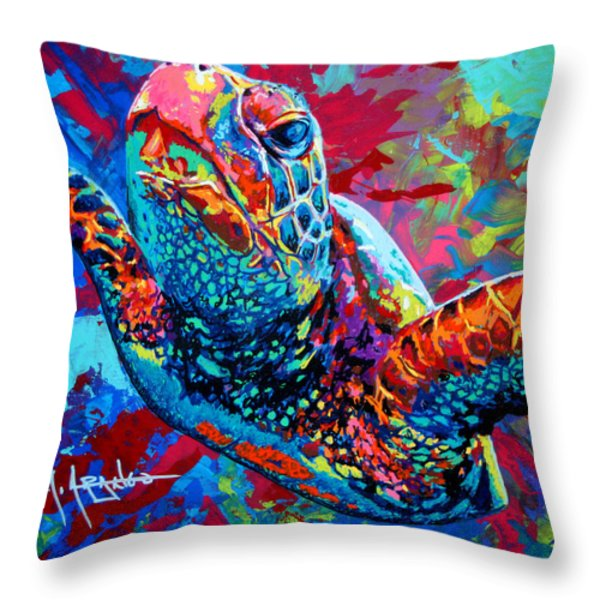 Sea Turtle Throw Pillow by Maria Arango