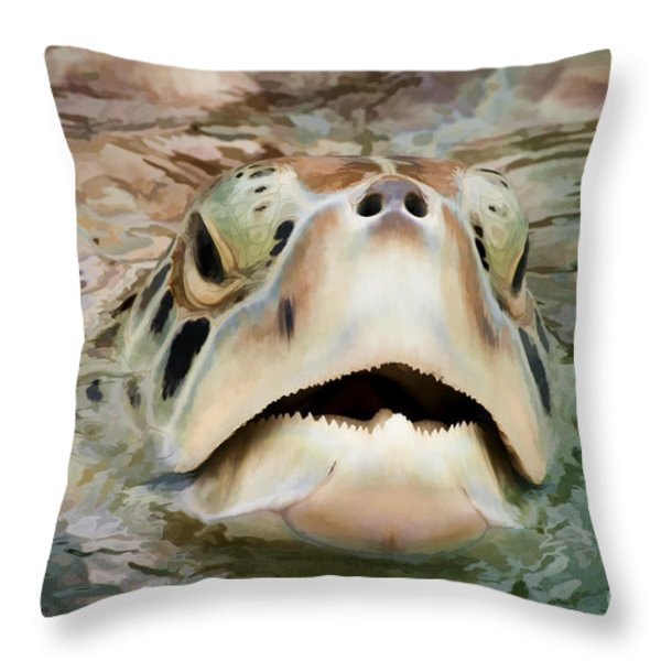 Sea Turtle Poking Head Out Of Water Throw Pillow by Dan Friend