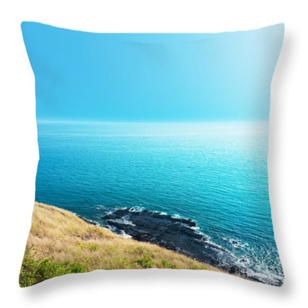 Sea Views From Cliffs Throw Pillow by Atiketta Sangasaeng