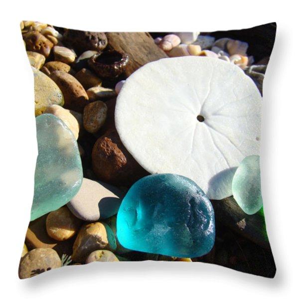 Seaglass art prints Rock Garden Sand Dollar Throw Pillow by Baslee Troutman Coastal Art Prints