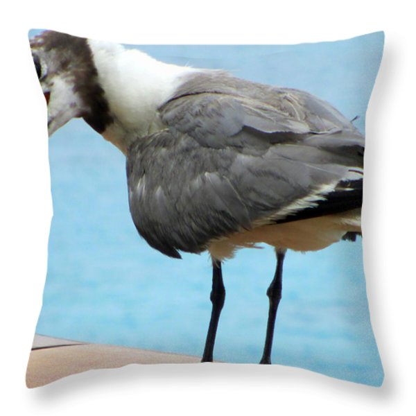 Seagull On The Rail Throw Pillow by Randall Weidner