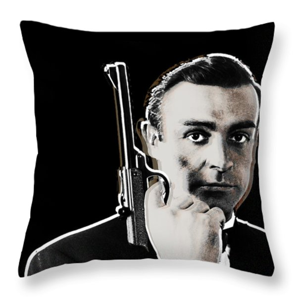Sean Connery James Bond Vertical Throw Pillow by Tony Rubino