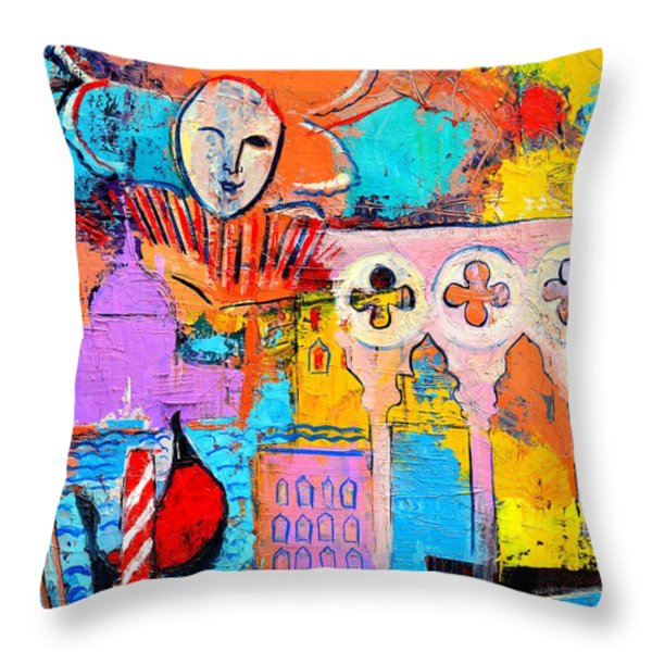 SEARCH OF LOST TIME IN VENICE Throw Pillow by ANA MARIA EDULESCU