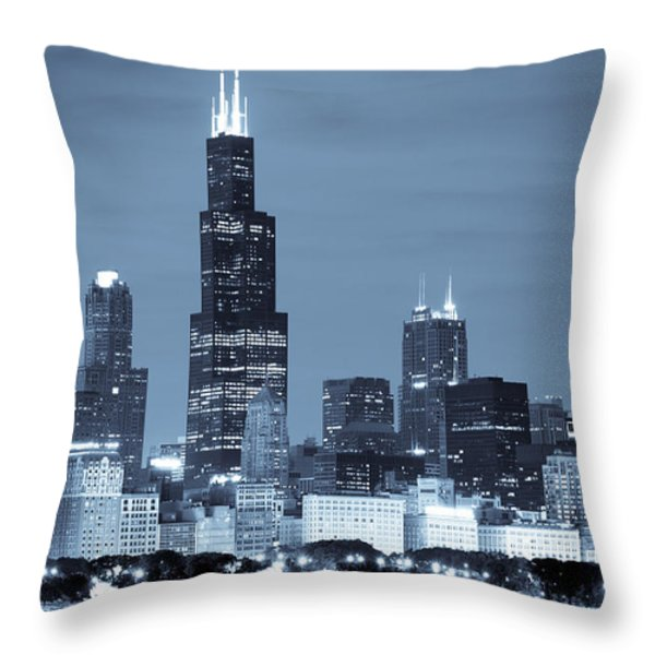 Sears Tower in Blue Throw Pillow by Sebastian Musial