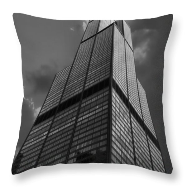 Sears Willis Tower Black And White 01 Throw Pillow by Thomas Woolworth