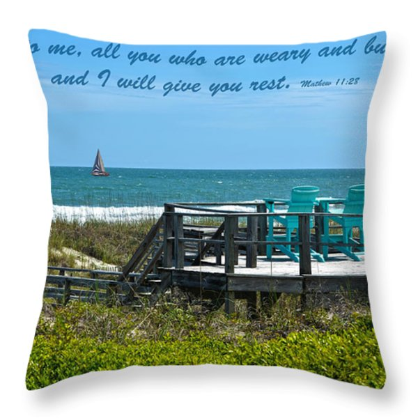 Seascape And Scripture Throw Pillow by Sandi OReilly