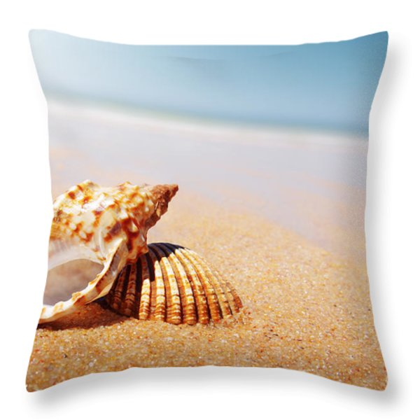 Seashell and Conch Throw Pillow by Carlos Caetano