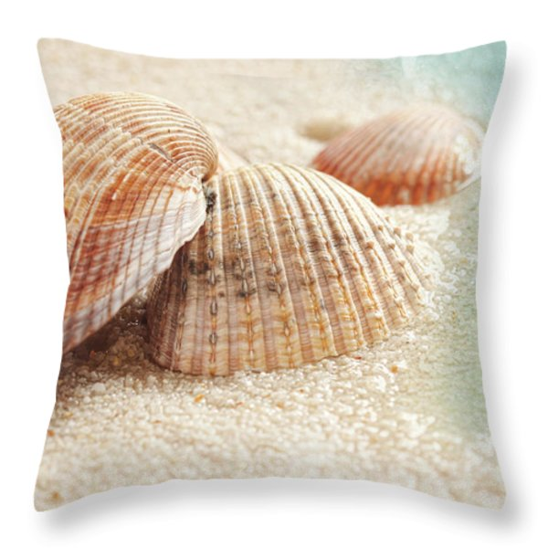 Seashells In The Wet Sand Throw Pillow by Sandra Cunningham