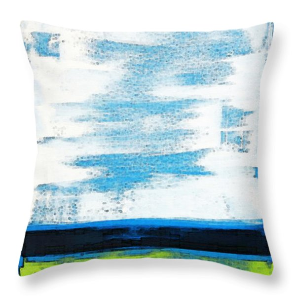 Seaside - Abstract Modern Art By Sharon Cummings Throw Pillow by Sharon Cummings