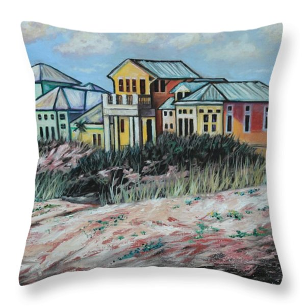 Seaside Cottages Throw Pillow by Eve  Wheeler