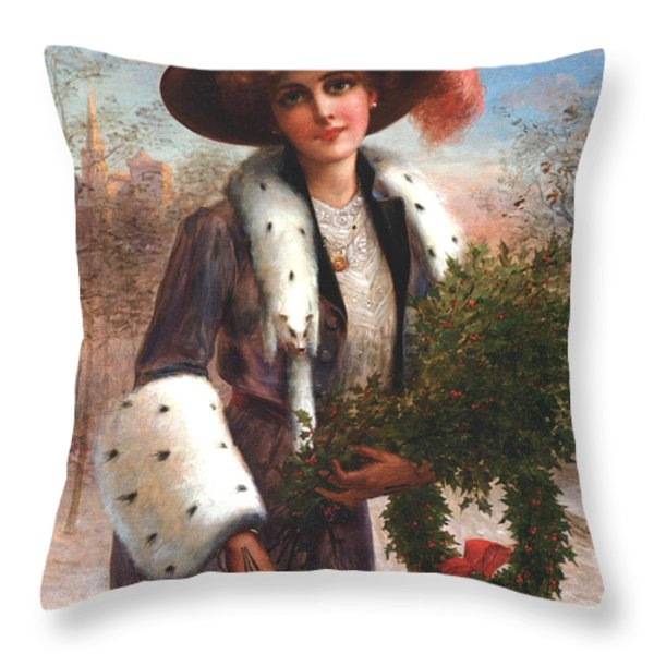 Seasons Greetings Throw Pillow by Emile Vernon