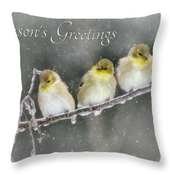Season's Greetings Throw Pillow by Lori Deiter