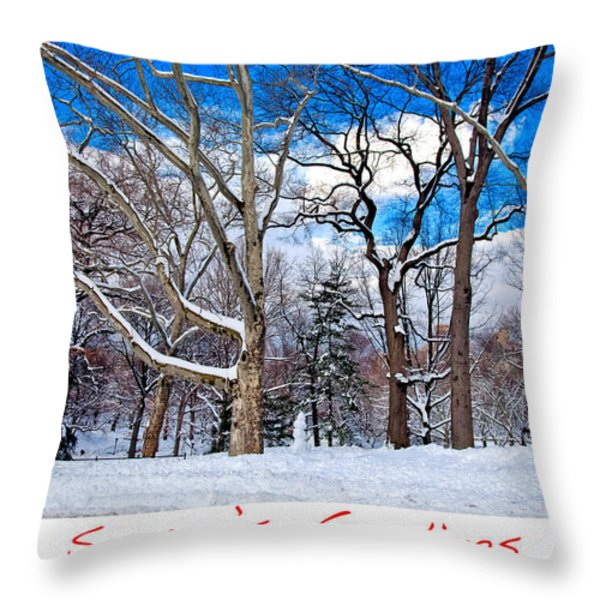 Season's Greetings Throw Pillow by Madeline Ellis