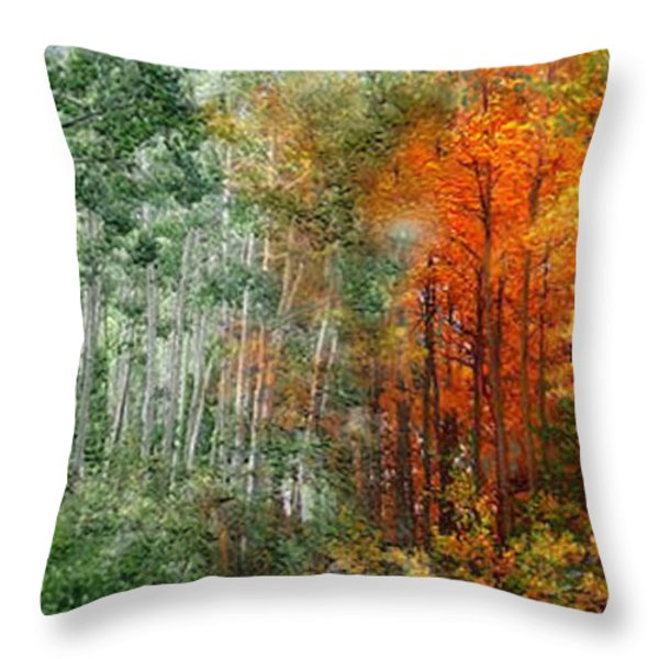 Seasons Of The Aspen Throw Pillow by Carol Cavalaris