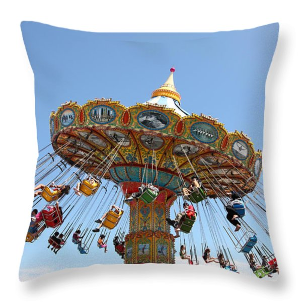 Seaswings At Santa Cruz Beach Boardwalk California 5D23905 Throw Pillow by Wingsdomain Art and Photography