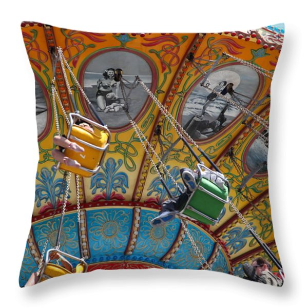 Seaswings At Santa Cruz Beach Boardwalk California 5D23906 Throw Pillow by Wingsdomain Art and Photography