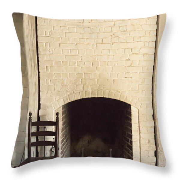 Seat by the Hearth Throw Pillow by Margie Hurwich