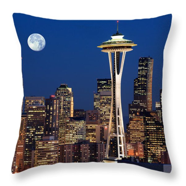 Seattle At Full Moon Throw Pillow by Inge Johnsson