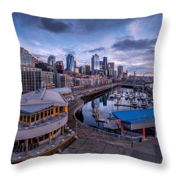 Seattle Bell Street Pier Throw Pillow by Dan Mihai