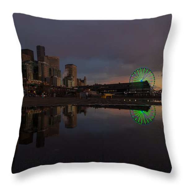 Seattle Cityscape And The Wheel Throw Pillow by Mike Reid