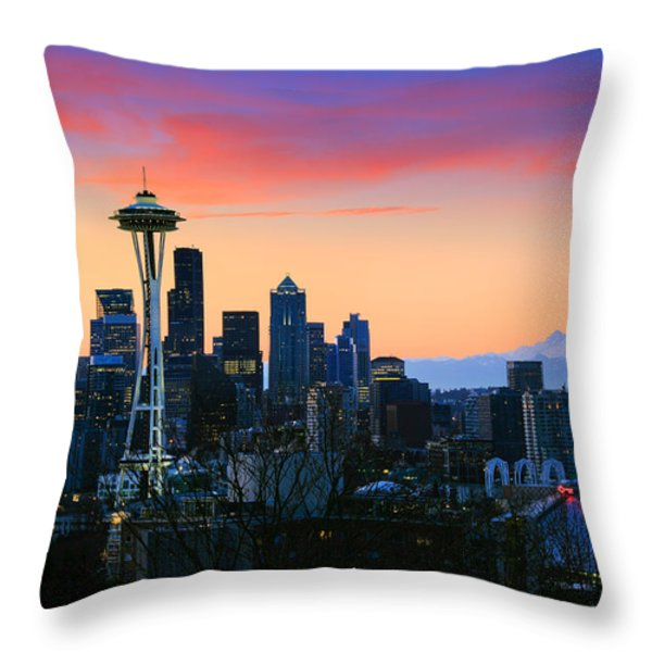Seattle Downtown Morning Throw Pillow by Inge Johnsson