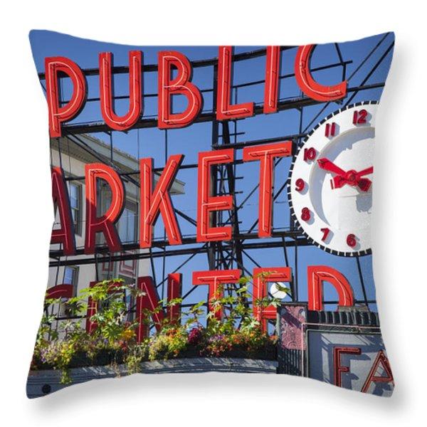 Seattle Market  Throw Pillow by Brian Jannsen