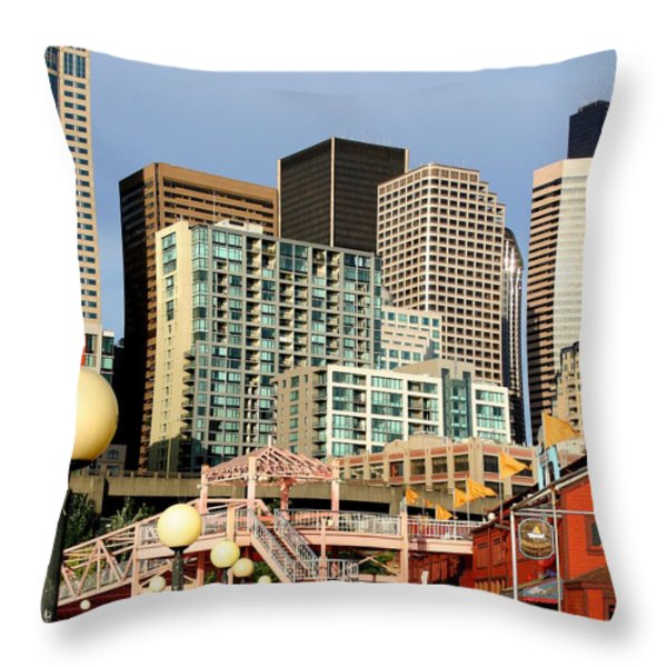 Seattle Skyline. Throw Pillow by Art Block Collections