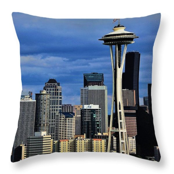 Seattle Skyline Throw Pillow by Benjamin Yeager