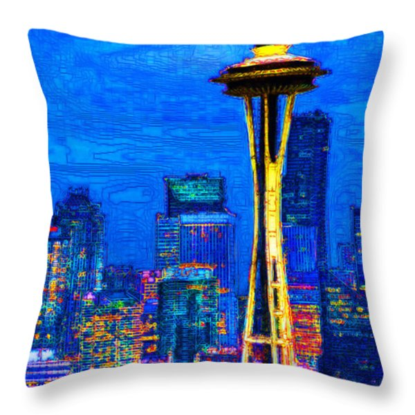 Seattle Space Needle 20130115v1 Throw Pillow by Wingsdomain Art and Photography