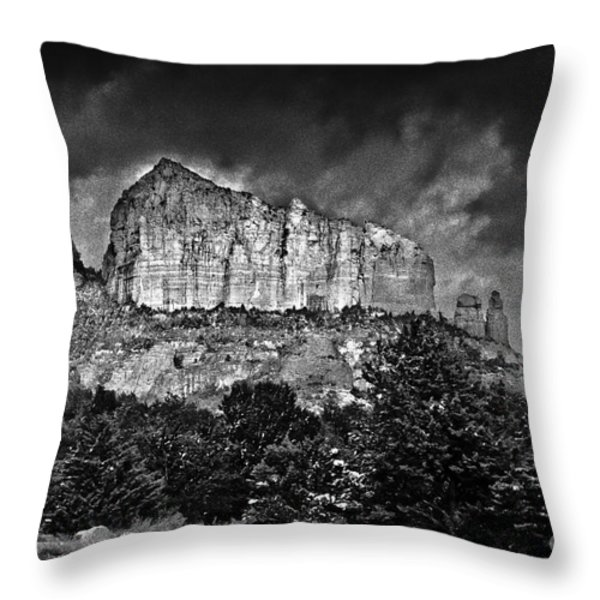 Sedona Arizona - Winter Throw Pillow by Bob and Nadine Johnston
