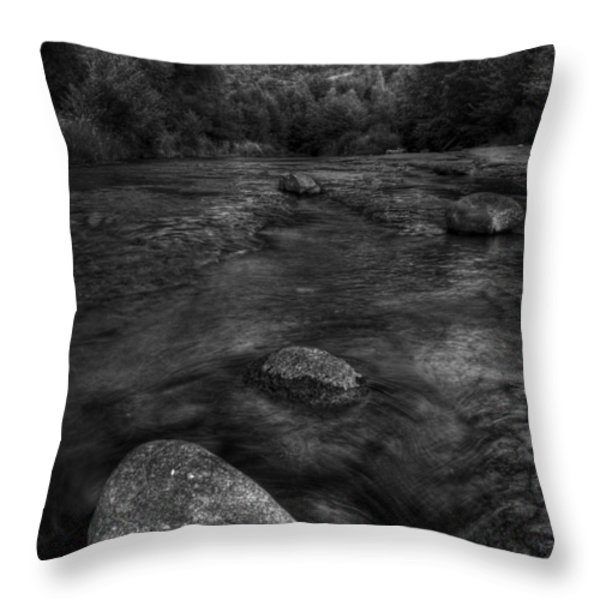 Sedona Cathedral Rock Black and White Throw Pillow by Dave Dilli