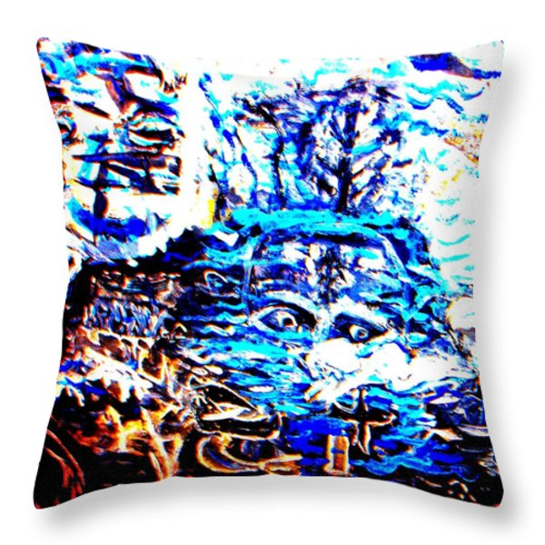 see the sea trolls Throw Pillow by Else Margrethe Widerberg
