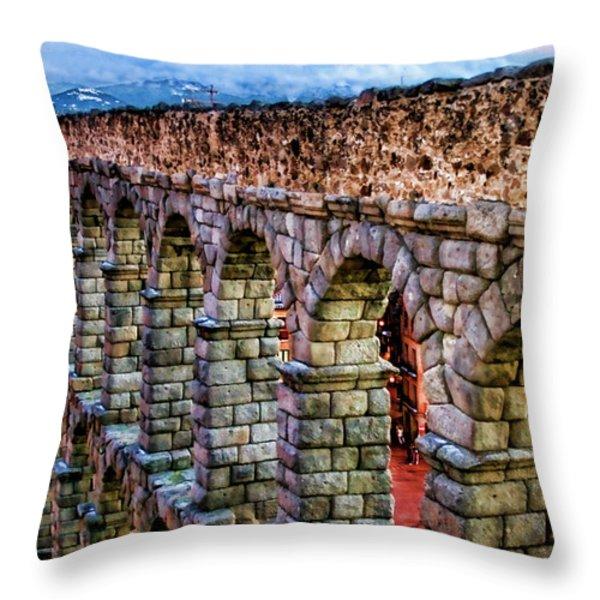 Segovia Aqueduct Spain By Diana Sainz Throw Pillow by Diana Sainz
