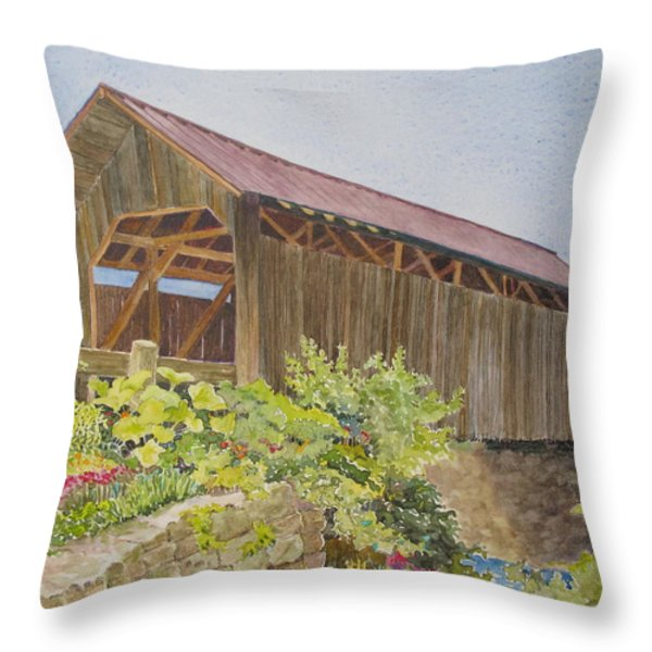 Seguin Covered Bridge In Charlotte Vermont Throw Pillow by Mary Ellen  Mueller Legault