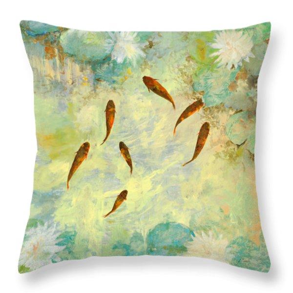 sei pesciolini verdi Throw Pillow by Guido Borelli