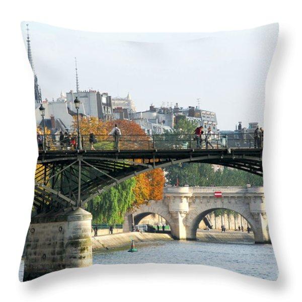Seine bridges in Paris Throw Pillow by Elena Elisseeva